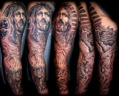 Matt has a Jesus tattoo that looks like this.he could add onto Awesome Examples of Full Sleeve Tattoo Ideas Tattoos Mandala, Tattoos Geometric, Trendy Tattoos, Tattoos For Guys, Cool Tattoos, Arm Tattoos, Tattos, Jesus Tattoo, Religious Tattoo Sleeves