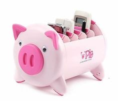 A remote control caddy shaped like a pig.