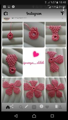 This Pin was discovered by Ayş Crochet Flower Tutorial, Crochet Flower Patterns, Crochet Motif, Crochet Flowers, Needle Tatting Patterns, Embroidery Stitches Tutorial, Embroidery Patterns, Diy Crafts Crochet, Yarn Crafts