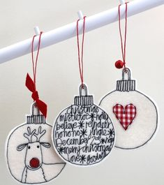 Three Wool Felt Christmas Baubles - Hanging Decorations £11.50
