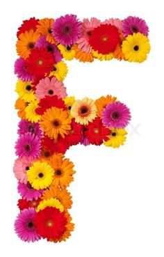 Stock image of 'Letter F - flower alphabet isolated on white background'