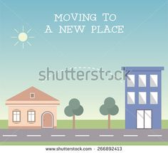 Moving to a new place vector illustration, with old family house and new flat apartments, exposing a message about moving from one place to another. - stock vector