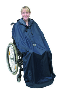 Adults Wheely Mac No Sleeves  The Simplantex Wheely Mac is perfect for the wet weather. It is a hooded mac that secures over the back of the wheelchair and takes into consideration the push handles. In addition it secures under the foot plate with a elasticated base. It is available unsleeved, ideal for those with restricted arm and body movement.