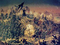Tysk fremstilling af stormen den 18. april 1864.  Den preussiske fane er rejst på voldkronen af en dansk skanse for at signalere at skansen er erobret.