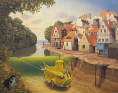 Jacek Yerka is a Polish painter of fantasy world and landscapes.