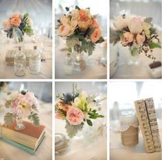 Beautiful small arrangements to line up down the center of a long table as a centerpiece
