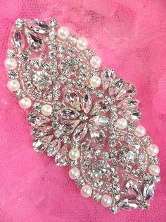 """XR232 Bridal Motif Silver Crystal Clear Rhinestone Applique w/ Pearls 3.5"""" (XR232-slcrp) on Etsy, $16.99"""