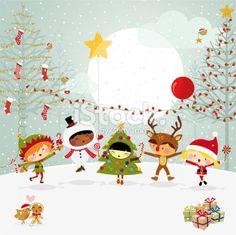 Happy Kids Xmas Party Costumes Elf Snowman Royalty Free Stock Vector Art Illustration