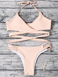 $12.99 Strappy Halter Wrap Bikini Set - LIGHT APRICOT PINK S