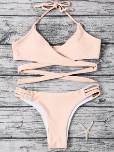 Bikinis | Light apricot pink Strappy Wrap Halter Bikini Set - Gamiss