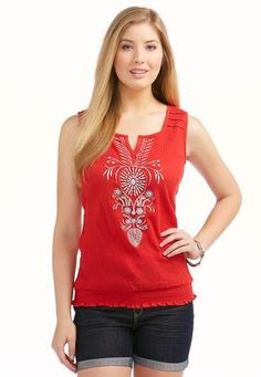 Sleeveless Embroidered Peasant Top – Plus Tanks Camisoles Cato Fashions Plus Size Women's Tops, Professional Women, Peasant Tops, Shirt Blouses, Style Inspiration, Catos Fashion, My Style, Womens Fashion, How To Wear