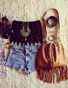 embroidered crop top, fringe bag, printed tee, high waist denim cutoffs, sandals