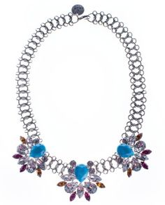 Available in 4 weeks  MATERIALS: Silver plated Swarovski crystals Acrylic Opaque stones Adjustable length and lobster-claw clasp   LENGTH: 45CM  RETURN TO NECKLACES