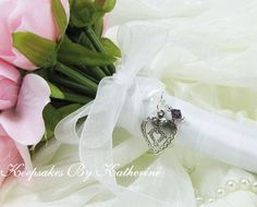 Locket Bouquet Charm with Crystal by Keepsakes By Katherine