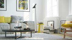 sofa grey light grey yellow round coffee table spice up white carpet