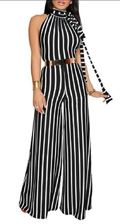 Beloved Women Cold Shoulder Jumpsuit Stripe Print Spaghetti Strap Casual Short Sleeve Romper