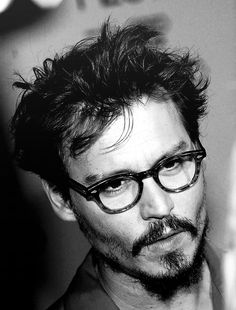 I don't believe I've said today how much I love this man!!! Johnny Depp, glasses, beard, eye candy, sexy, hottie, celeb, portrait, photo b/w.
