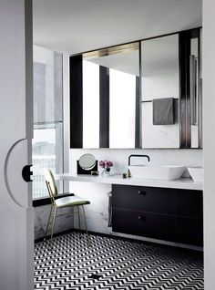 Image result for master bathroom black and white floor brass