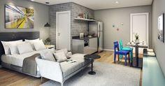 Perspectiva do apartamento compartilhável que será entregue no Smart Santa Cecília, da Gafisa, em São Paulo.