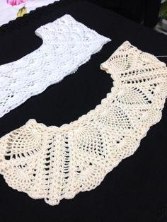 Belíssima blusa com ponto abacaxi utilizando o euroroma fiore na cor cru 100 a moda ao seu alcance – Artofit Débardeurs Au Crochet, Crochet Stitches Free, Crochet Collar, Crochet Blouse, Crochet Shawl, Crochet Baby, Crochet Flower, Knit Dress, Modern Crochet Patterns