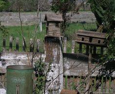 Log cabin birdhouses