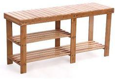 "Songmics 100% Natural Bamboo Shoe Bench Shoe Boot Storage Racks Organizer 34.3"" x 11"" x 17.7"" ULBS06N"