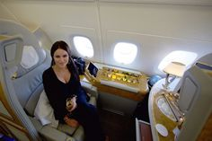 Flying first class is a dream most people can't afford to live out. Sure, first class means more legroom, nicer flight attendants, and gourmet food, but Flying First Class, First Class Seats, Emirates First Class, Emirates A380, Airline Reviews, Spa Shower, Flight Attendant, Plan Your Trip