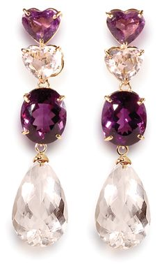 Heart-Shape Amethyst & Rock Crystal with Drops
