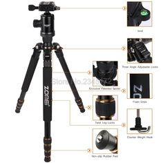 83.30$  Buy now - http://alilrn.worldwells.pw/go.php?t=32739492372 - Zomei Z688 Aluminum Portable Tripod Monopod With Ball Head Photographic Travel Compact For Digital SLR DSLR Camera Stand