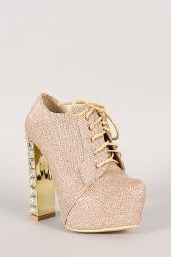 Wild Rose Phoenix-01A Glitter Jeweled Encrusted Lace Up Platform Bootie