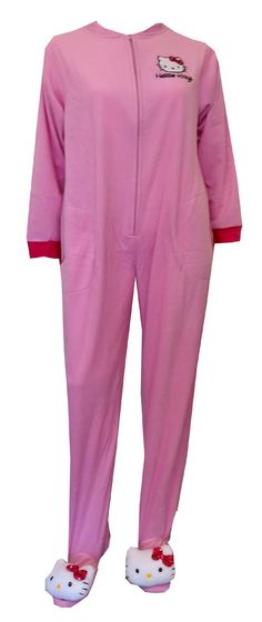 Hello Kitty Head Light Pink Fleece Onesie Footie Pajama  Absolutely adorable! These pajama sets for women feature everyone's favorite Kitty, embroidered on softest light pink micro polar fleece. These one piece footie pajamas have gripper bottoms with polyester-filled 'Hello Kitty Head Toe Warmers complete with a sequined bow' and are slightly elasticized at the back of the ankle. Junior Cut. $35
