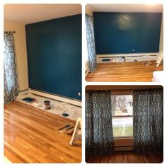 accent wall in living room! behr peacock tail. window treatment from marshalls. peacock blue trellis pattern.
