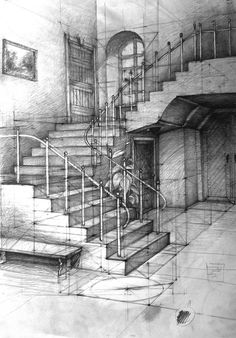 21 Stairs Pencil Drawing Ideas - New Architecture Drawing Sketchbooks, Architecture Concept Drawings, Dark Drawings, Pencil Drawings, Water Drawing, Painting & Drawing, Drawing Furniture, Perspective Drawing, Interior Sketch