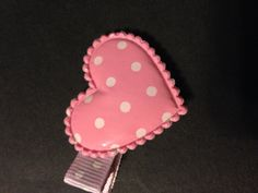 Heart pink and white hair clipvalentines daynon slip by mycutesies, $1.50