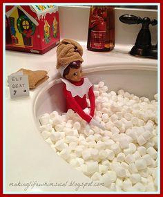 25 Elf on the Shelf ideas! Bubble Bath