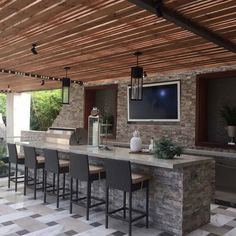 Stacked Stone Ledger Panels That Add Rustic Polish to Your Patio Home Estimate, Fireplace Accent Walls, Home, Outdoor Kitchen Design, Patio Design, Backyard Bar, Stacked Stone Panels, Outdoor Kitchen Patio
