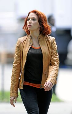 "Scarlett Johansson walks to set of ""The Avengers"" filming in Central Park, NYC."