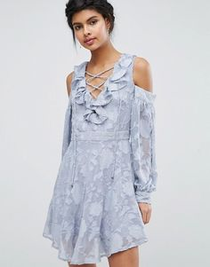 Blue Lace Up Front Burn Out Mini Dress at Asos