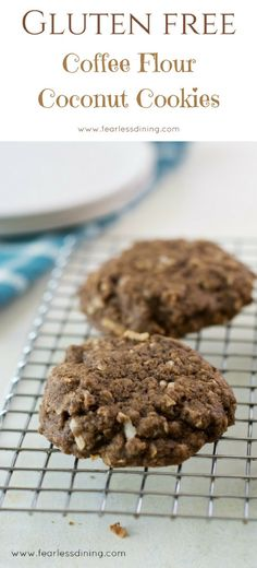 What the heck is coffee flour and what can you make with it? These gluten free coffee flour coconut cookies are a delicious way to use coffee flour. Coffee flour is a healthy flour. Best Gluten Free Desserts, Gluten Free Cookie Recipes, Foods With Gluten, Gluten Free Cookies, Free Recipes, Cookie Desserts, Fun Desserts, Dessert Recipes, Coffee Flour