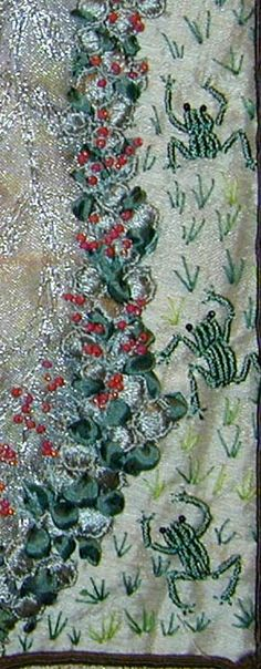 I ❤ crazy quilting . . . Barbara Massengill's frogs. These little bullion stitch frogs are so playful along the edge of this quilt - I love them! Also please note what a beautiful silk ribbon and beaded border Barbara addded to the right side of her path!