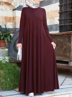 islamic clothing Flared Lightweight Jersey Abaya - After-Eid Sale - Women Islamic Fashion, Muslim Fashion, Modest Fashion, Fashion Clothes, Fashion Dresses, Mode Abaya, Mode Hijab, Modest Dresses, Modest Outfits