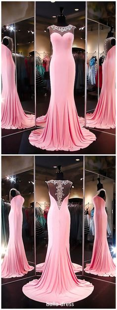 Unique Trumpet/Mermaid Scoop Neck Silk-like Satin Beading Pink