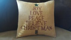 Christmas Tree Burlap Pillow Cover by JustLittleLoveables on Etsy, $25.00