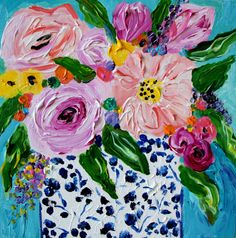 SALE Floral Still Life Flowers in Blue and by CarolynShultzFineArt