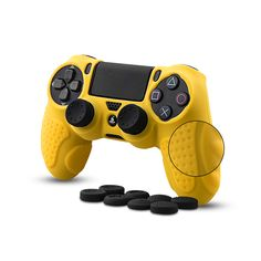 CHINFAI Controller DualShock 4 Skin Grip Anti-slip Silicone Cover Protector Case for Sony Pro Controller with 8 Thumb Grips Ps4 Controller, Cell Phone Accessories, Sony, Buttons, Nice, Nice France, Knots, Plugs