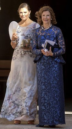 Queen Silvia and Crown Princess Victoria of Sweden attend the wedding of Helena Christina Sommerlath and Ian Martin held at the Palma de Mallorca Cathedral in Mallorca, Spain. The bride is niece and goddaughter of Queen Silvia. Princess Victoria Of Sweden, Princess Estelle, Princess Madeleine, Crown Princess Victoria, Mothers Dresses, Girls Dresses, Princesa Victoria, Girls First Communion Dresses, Style Royal