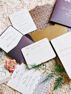 Gold and Purple Stationery Suite | KATIE STOOPS PHOTOGRAPHY | http://knot.ly/6496BaHBY
