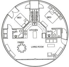 Oktogone Sample Floor Plan 1 a. Round House Plans, Tiny House Plans, House Floor Plans, Yurt Home, Earth Bag Homes, Yurt Living, Geodesic Dome Homes, Silo House, Earthship Home