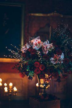 Italian Gothic Wedding Inspiration at Villa Di Maiano - Gothic Maxx Romantic Wedding Receptions, Wedding Reception Decorations, Romantic Weddings, Wedding Centerpieces, Black Weddings, Romantic Ideas, Reception Ideas, Unique Weddings, Fall Wedding