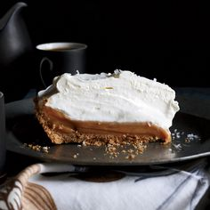 Salted Caramel Pie - The filling for this supereasy caramel lovers' dream pie is sweetened condensed milk sprinkled lightly with sea salt and baked until thick and gooey, then chilled in a simple graham cracker crust. http://www.foodandwine.com/recipes/salted-caramel-pie